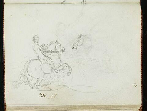 Cavalier nu, de profil à droite, la tête de face, tenant un bâton; repentirs