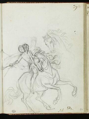 Cavalier, vu de trois quarts, tenant une épée dans la main droite