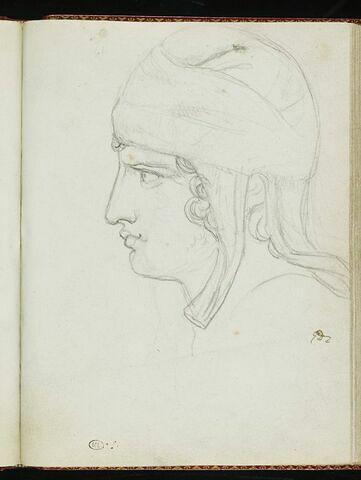 Tête d'adolescent, de profil à gauche, coiffée d'un bonnet phrygien
