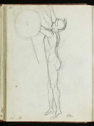 Guerrier dressé sur la pointe des pieds, nus et armé d'une lance