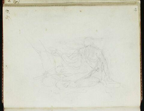 Silhouette d'un homme assis et croquis
