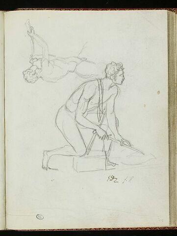 Homme nu, le genou droit sur une pierre ; homme nu soufflant dans une corne