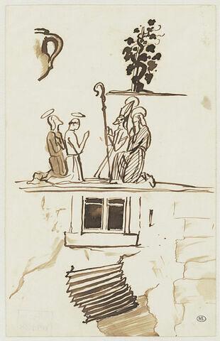 Feuille d'études : façade de maison, saints en prières, vase, vigne