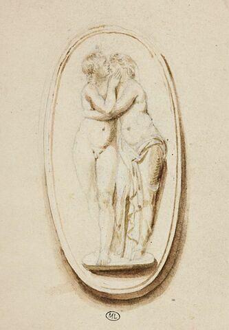 Etude d'après un bas-relief antique : couple d'amoureux enlacés