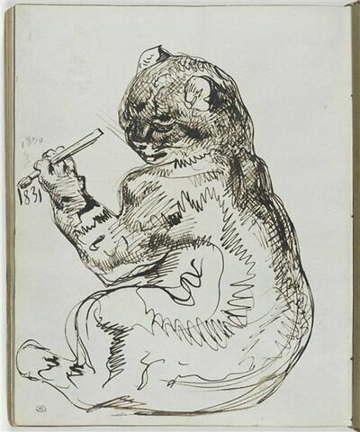 Un chat écrivant au pinceau la date 1831