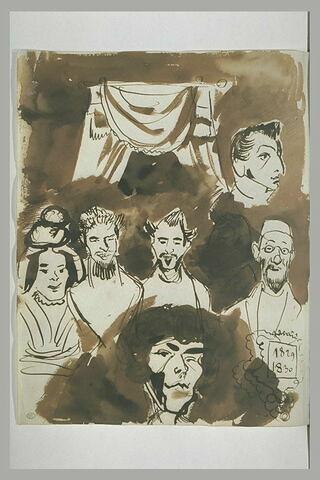 Sept têtes caricaturales dont une masquée par une tache de lavis ; draperie