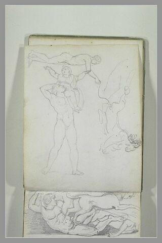 Etudes d'après l'antique : hommes nus, dont un portant un enfant habillé