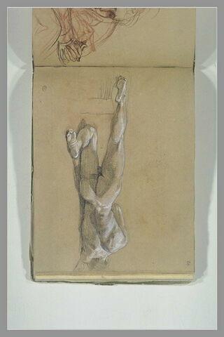 Homme nu, allongé sur le côté droit, vu de dos