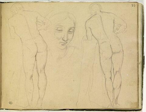 Deux études d'homme nu, de dos, d'après l'antique ; tête de femme