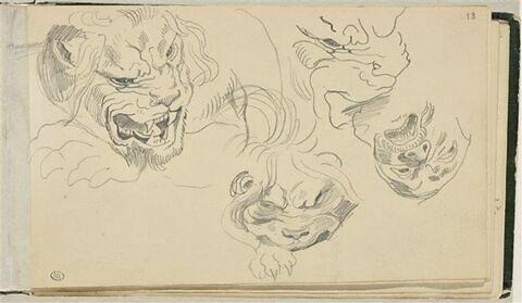 Trois têtes de lions, et une tête d'homme
