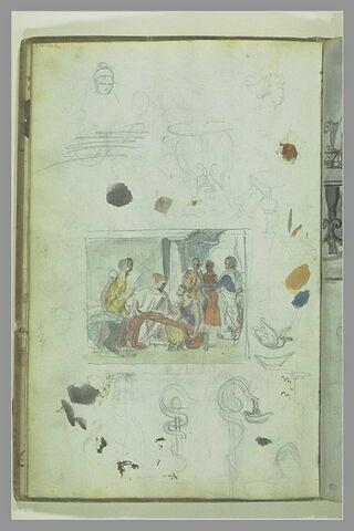 Eléments de mobilier antique, et projet de composition