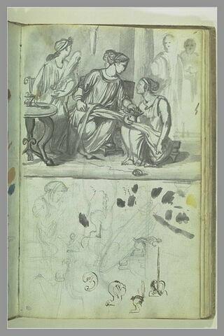 Composition avec trois femmes drapées à l'antique, et autres études