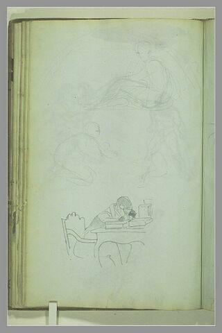 Figure assise, dans un demi-cercle ; femme et enfant ; homme assis