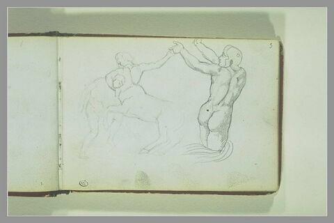 Centaure combattant contre un homme nu ; guerrier