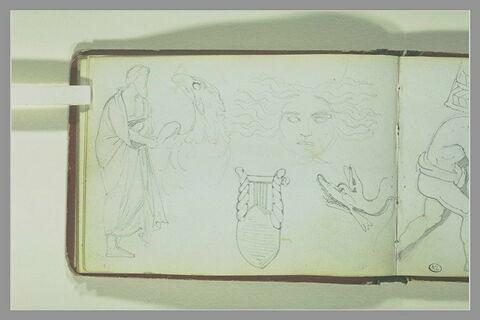 Vieillard drapé,debout ; tête d'aigle ; tête de Méduse ; lyre ; monstre mari