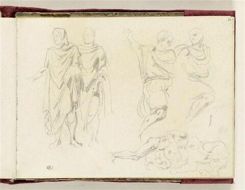Figures d'hommes drapés à l'antique ; Hercule combattant le lion de Némée
