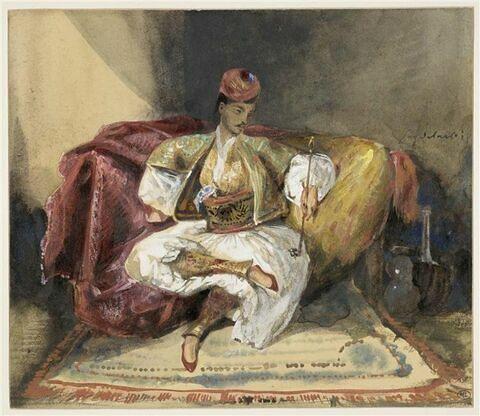 Oriental, assis sur un divan, tenant un narghilé