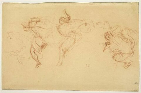 Trois cavaliers arabes galopant