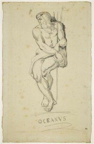 Homme barbu assis, tenant un trident : l'Océan