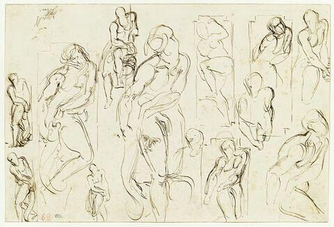Etude de personnages nus, et de têtes