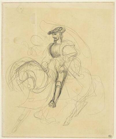 Cavalier galopant, avec une figure volant à ses cotés