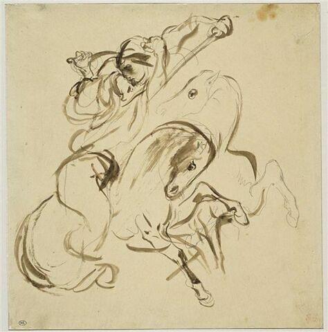 Deux cavaliers orientaux combattant