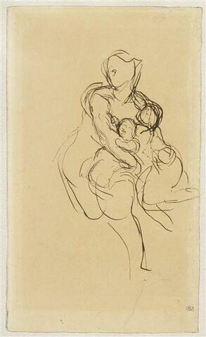 Femme nue tenant deux enfants dans ses bras