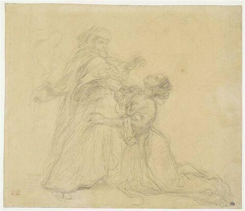 Jeune femme agenouillée devant un vieillard qui la repousse