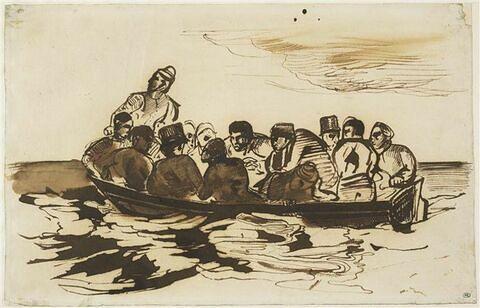 Personnages dans une barque