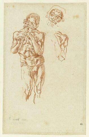 Homme nu, jouant de la flûte, et reprises de la tête et d'une épaule