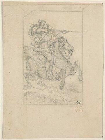 Arabe sur un cheval au galop, épaulant son fusil