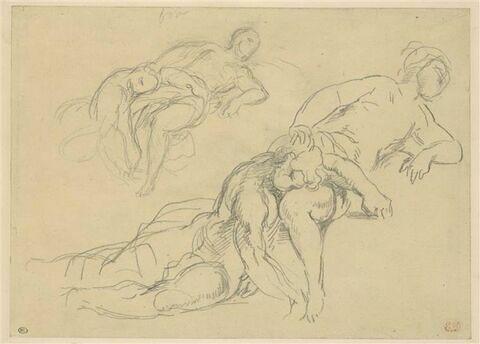 Deux études d'homme posant sa tête sur les genoux d'une femme