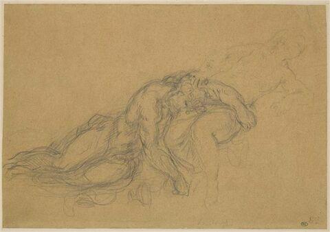 Homme nu, posant sa tête sur les genoux d'une femme