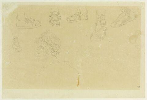 Montagnard des Pyrénées, et six études de pieds dans des sandales lacées