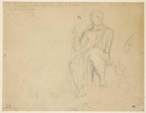 Homme à demi nu, drapé à l'antique, tenant une bêche