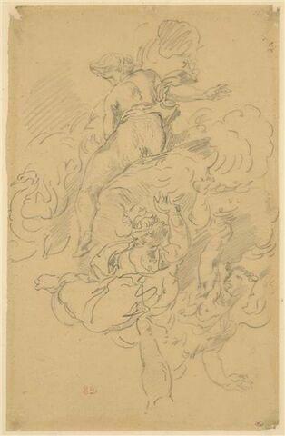 Femme sur des nuages, et personnages volant