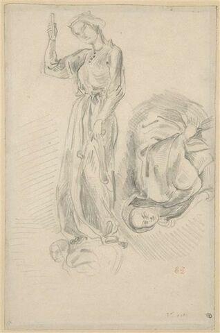 Etude d'une statue de Vierge folle et d'une figure qui orne le socle