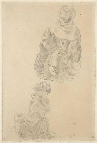 Deux études d'après une statue d'homme agenouillé, coiffé d'un chapeau