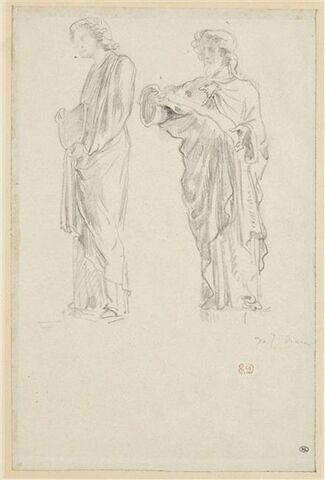 Etudes d'après deux statues d'ange et de prophète d'époque gothique