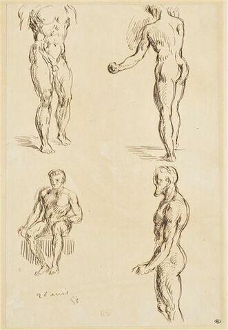 Quatre études d'hommes nus