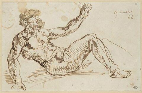 Homme, à demi nu, étendu, se relevant, le torse dressé