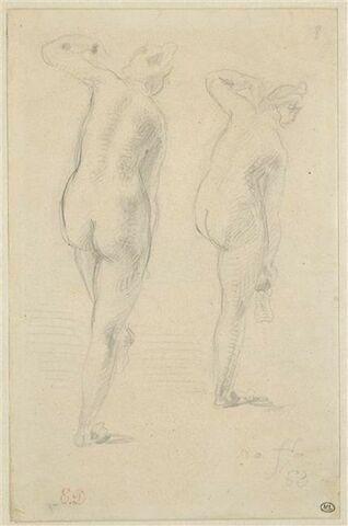 Deux études de femmes nues, vues de dos