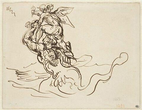 Triton élevant sur ses épaules un génie ailé
