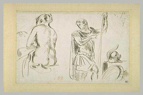 Femme nue assise, de dos, et guerrier antique