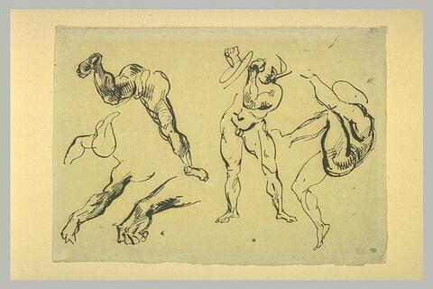 Etudes d'hommes nus gesticulant