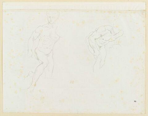 Deux études d'homme nu, penché vers la droite