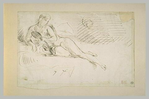 Femme nue allongée, tenant un miroir