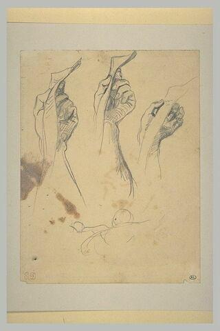 Etude de main tenant un parchemin déployé