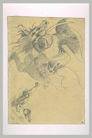 Cavalier oriental combattant, tenant un bouclier et un sabre