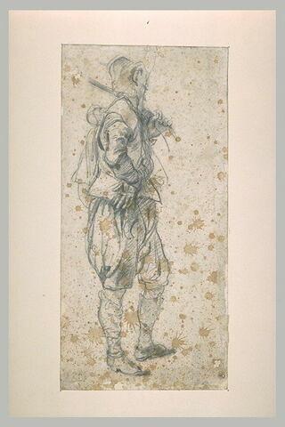 Mousquetaire, de profil à droite, la main sur la hanche